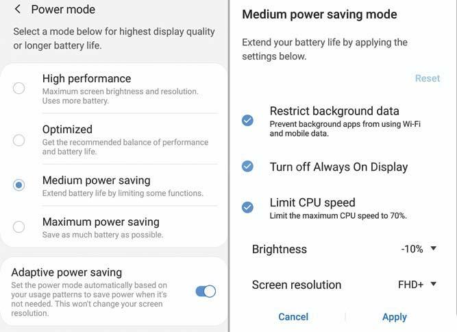 galaxy s10 power saving mode