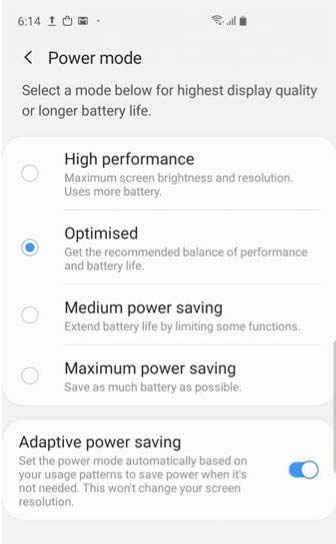 galaxy s10 power saving modes